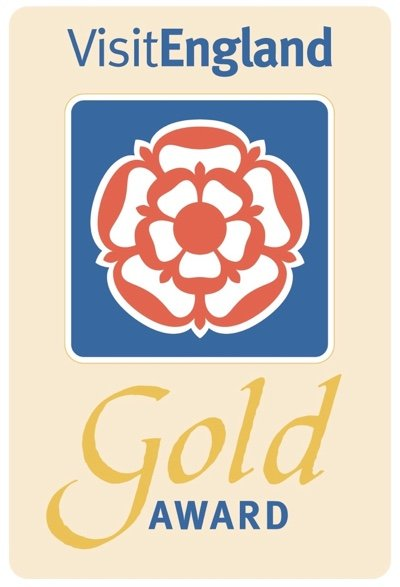 Logo for  VisitEngland Gold Award for outstanding accommodation & customer service
