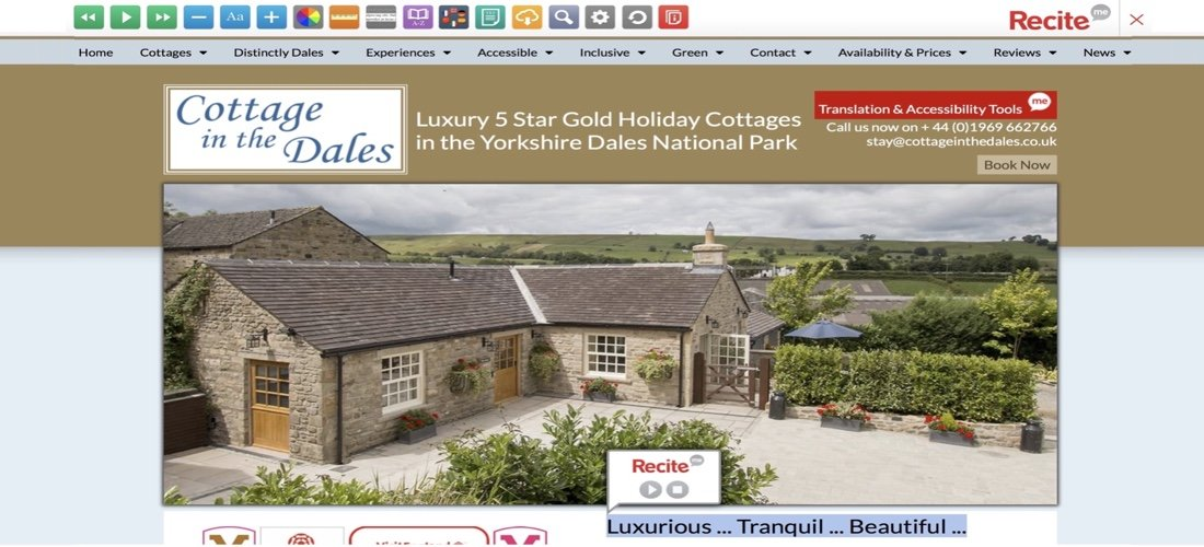 Cottage in the Dales Website Accessibility using Recite Me